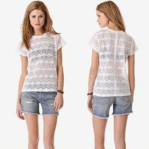 NSF Annette Cream Lace Tee Top Short Sleeve M